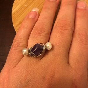 Jewelry - Amethyst and Pearl Wire Wrapped Ring